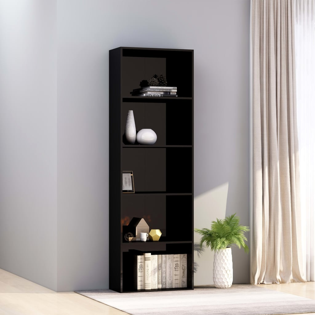 5-Tier Book Cabinet High Gloss Black 60x30x189 cm Chipboard 1