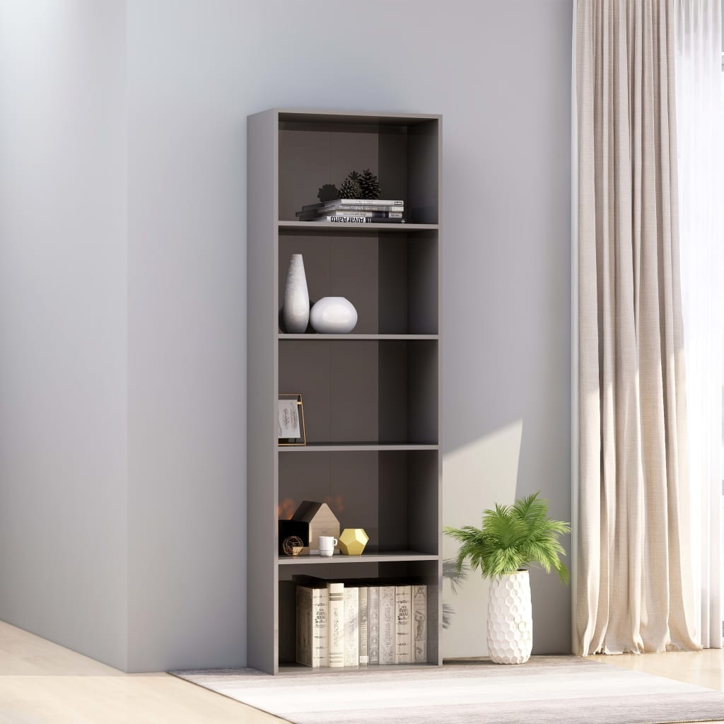 5-Tier Book Cabinet High Gloss Grey 60x30x189 cm Chipboard