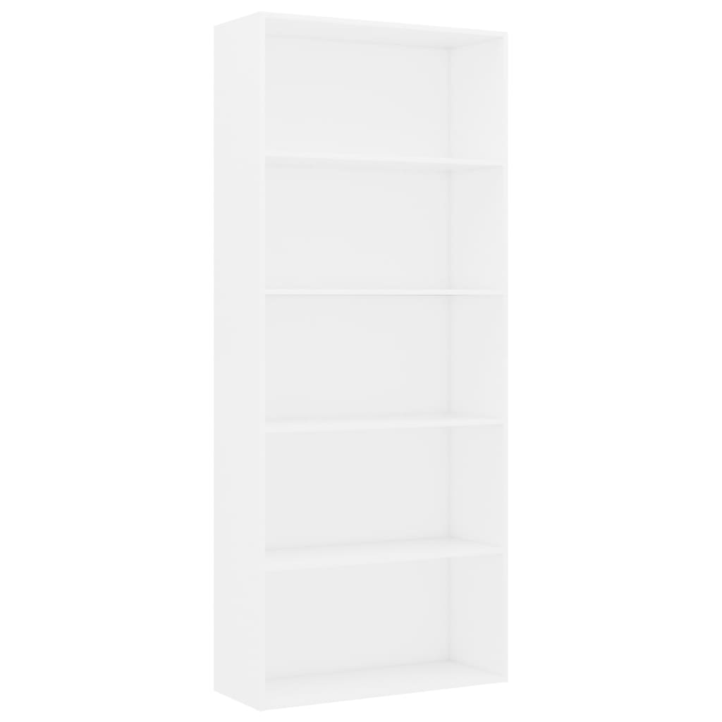 5-Tier Book Cabinet White 80x30x189 cm Chipboard 2