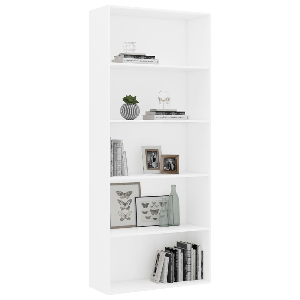 5-Tier Book Cabinet White 80x30x189 cm Chipboard 3