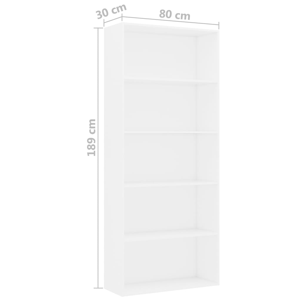 5-Tier Book Cabinet White 80x30x189 cm Chipboard 6