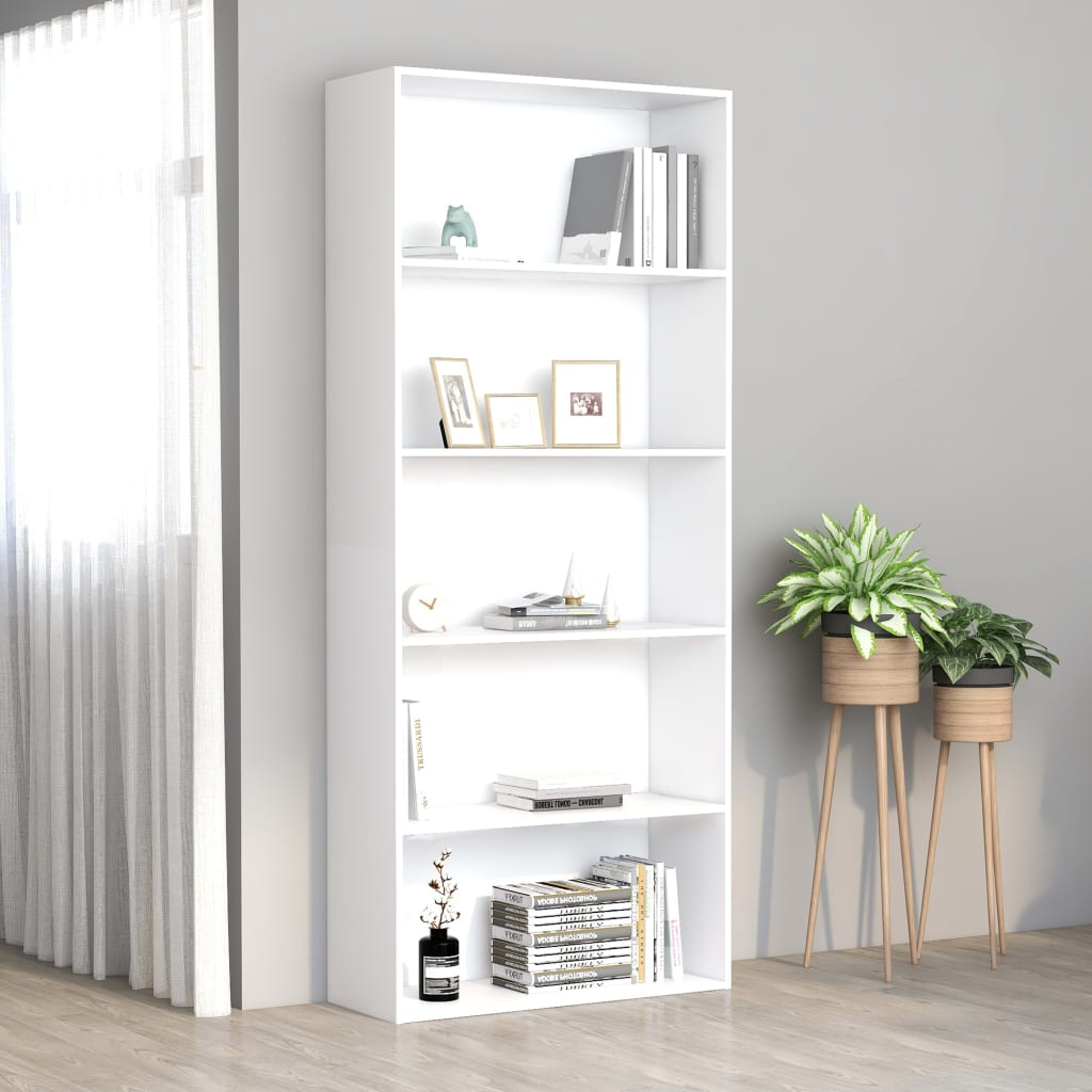 5-Tier Book Cabinet White 80x30x189 cm Chipboard 1