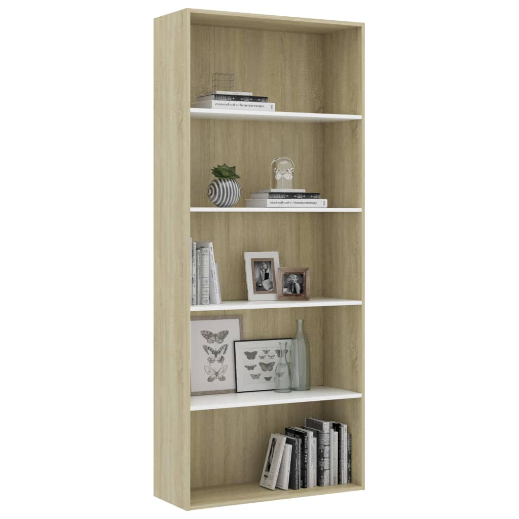 5-Tier Book Cabinet White and Sonoma Oak 80x30x189 cm Chipboard 3