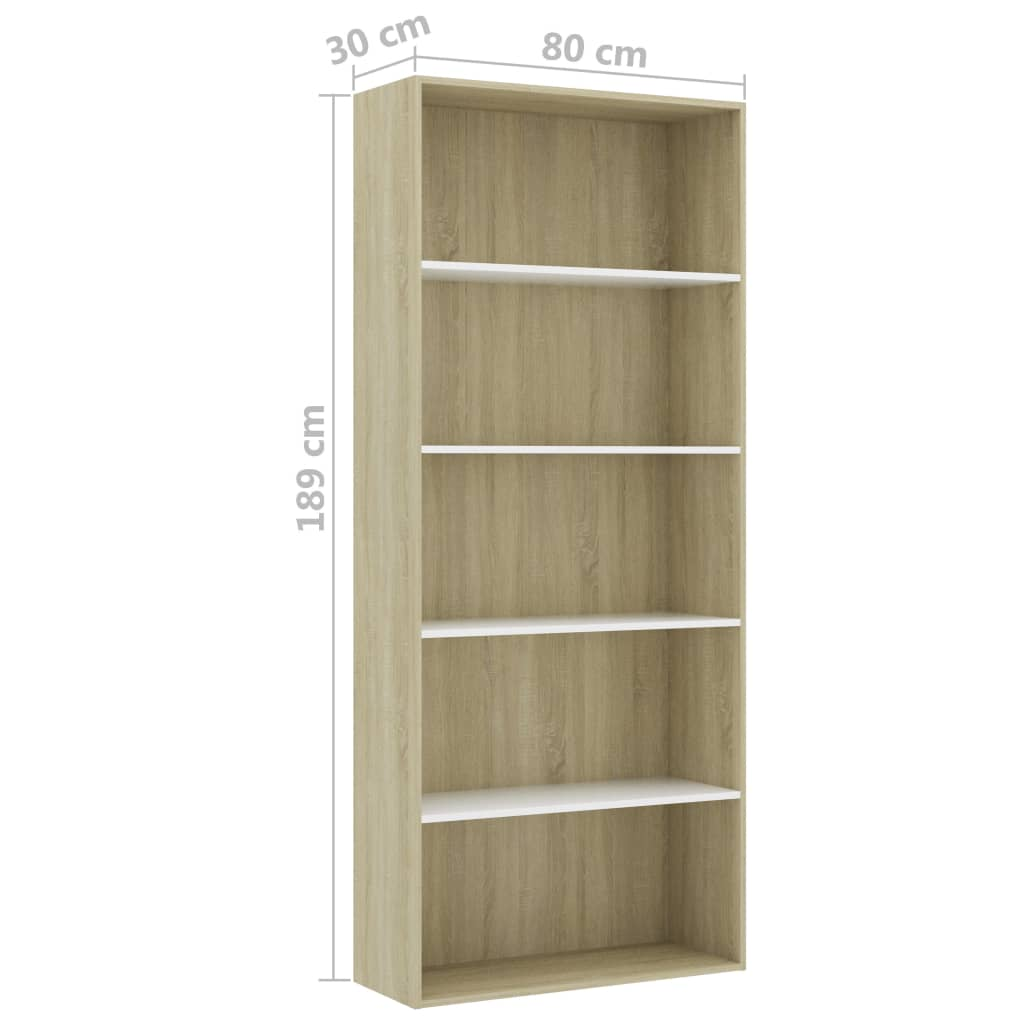 5-Tier Book Cabinet White and Sonoma Oak 80x30x189 cm Chipboard 6