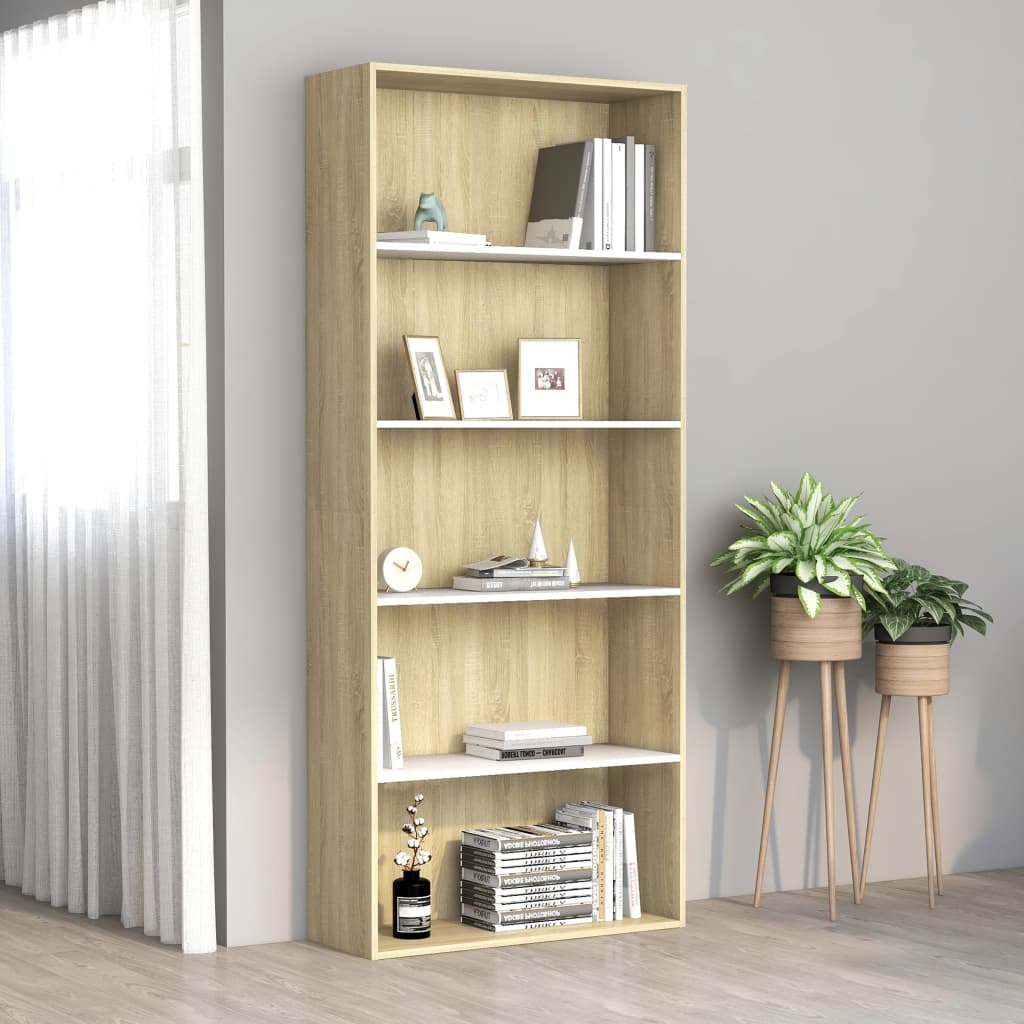 5-Tier Book Cabinet White and Sonoma Oak 80x30x189 cm Chipboard 1