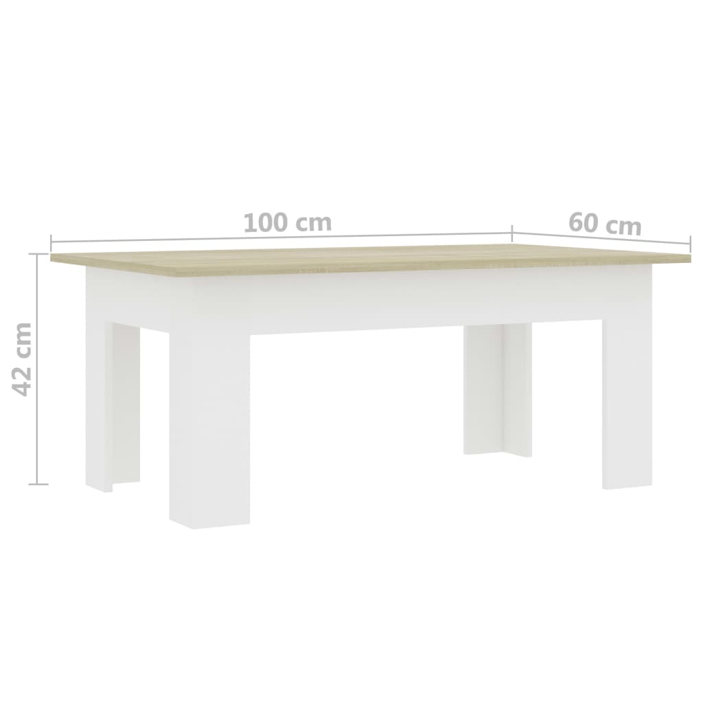 Coffee Table White and Sonoma Oak 100x60x42 cm Chipboard 6