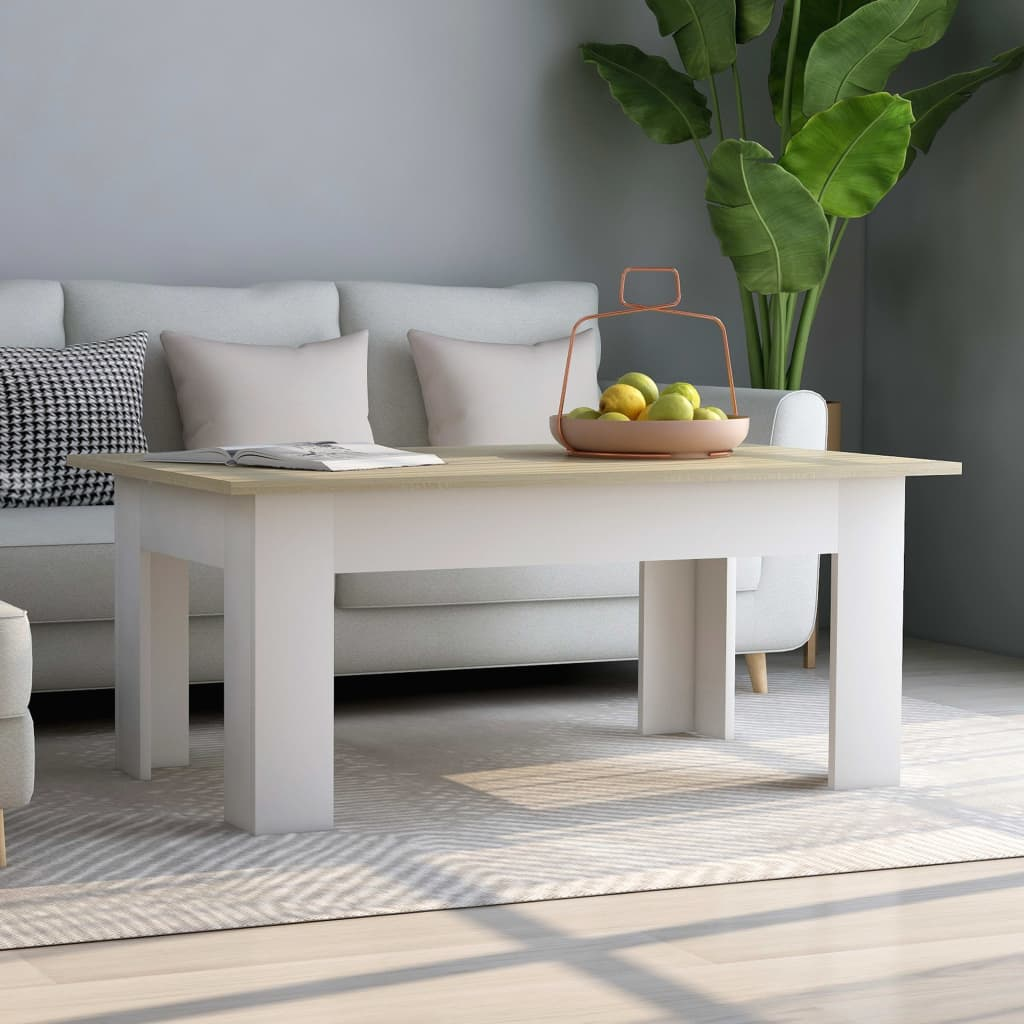 Coffee Table White and Sonoma Oak 100x60x42 cm Chipboard 1