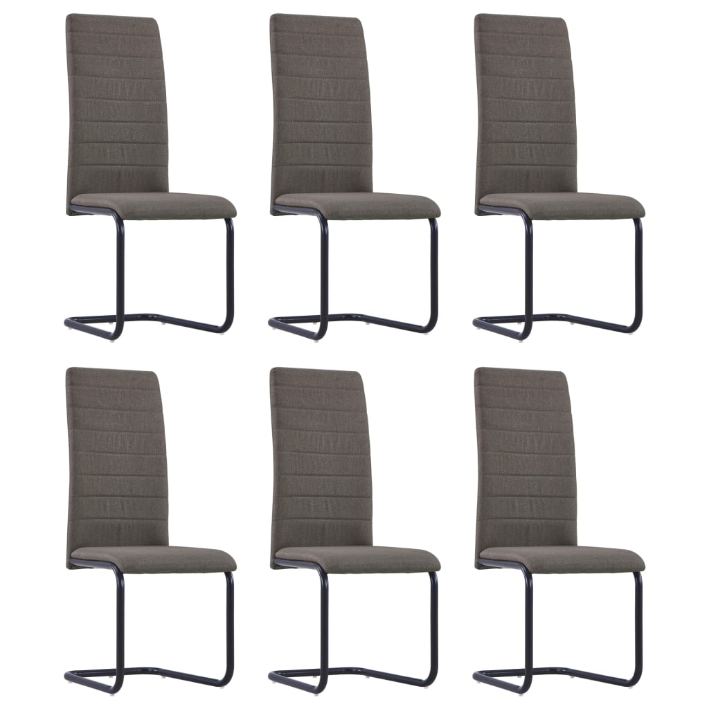 Dining Chairs 6 pcs Taupe Fabric