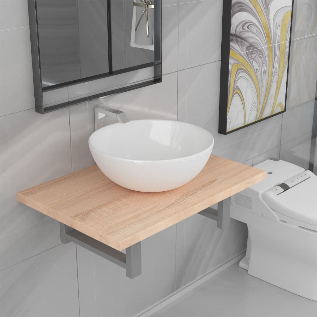 Two Piece Bathroom Furniture Set Ceramic Oak 1