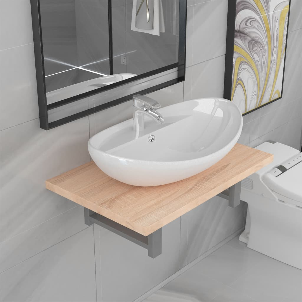 Two Piece Bathroom Furniture Set Ceramic Oak
