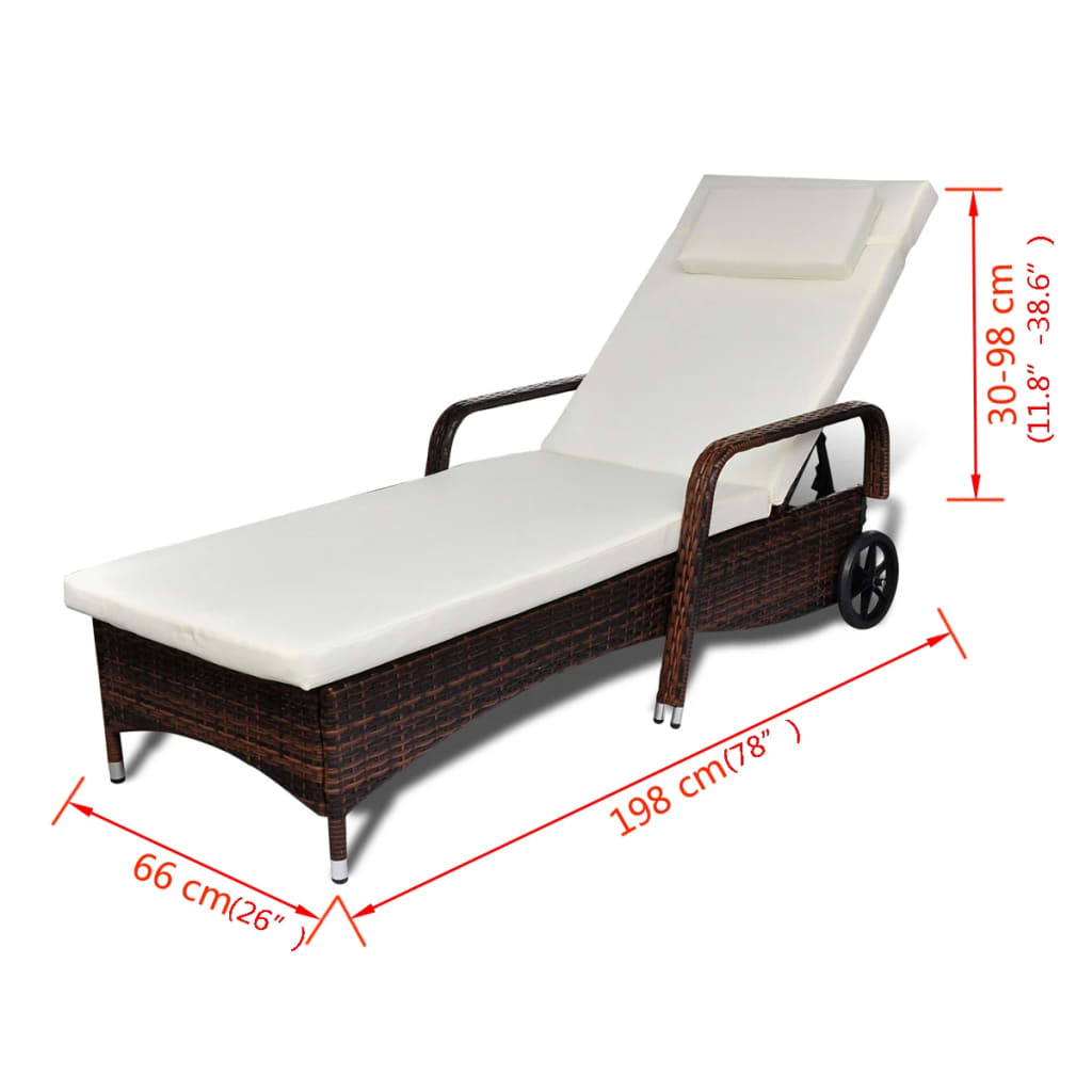 Sun Lounger with Cushion & Wheels Poly Rattan Brown 4