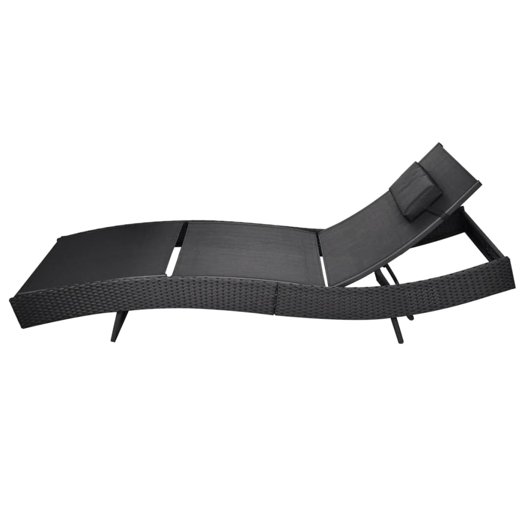 Sun Lounger Poly Rattan Black 2