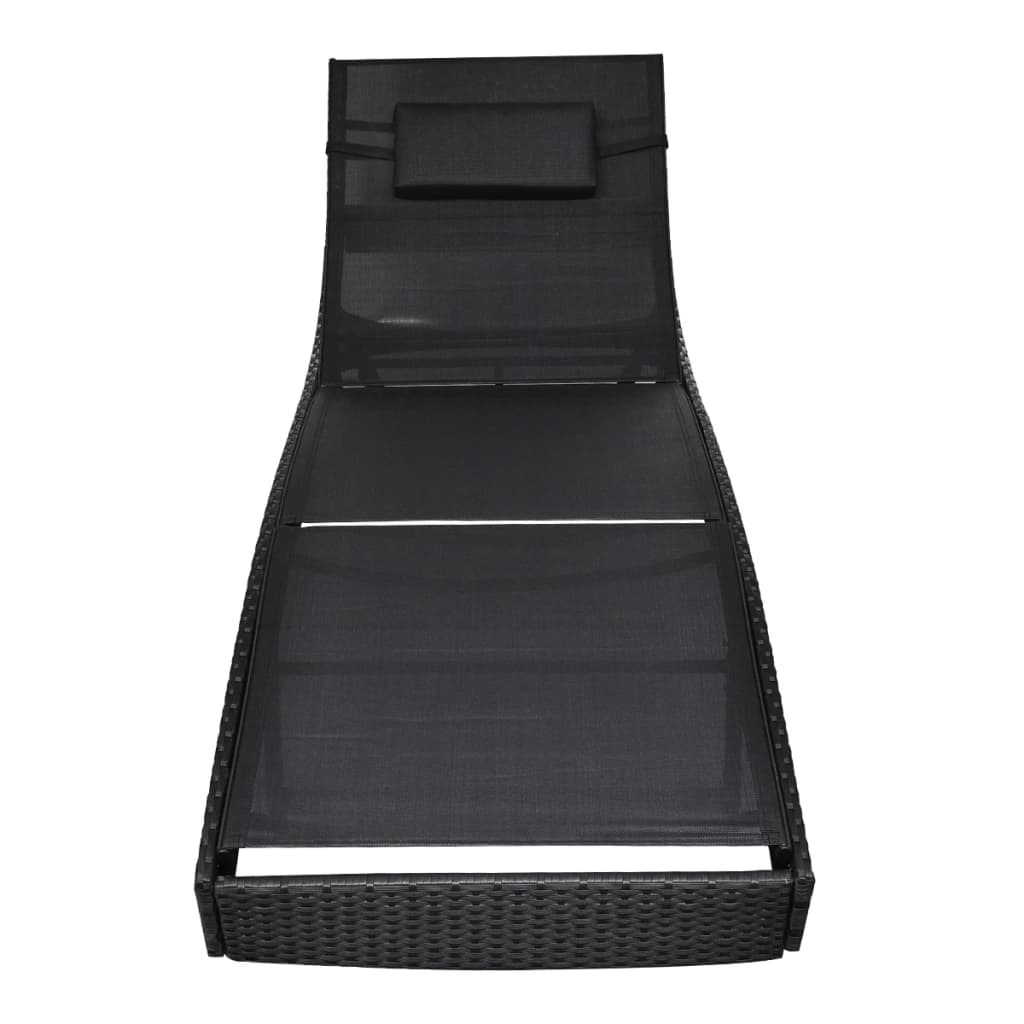 Sun Lounger Poly Rattan Black 4