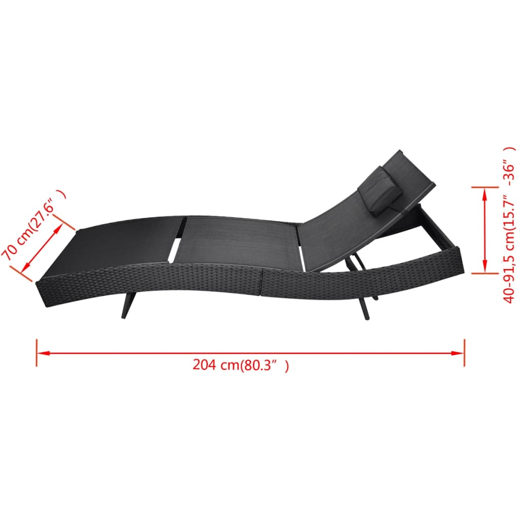 Sun Lounger Poly Rattan Black 5