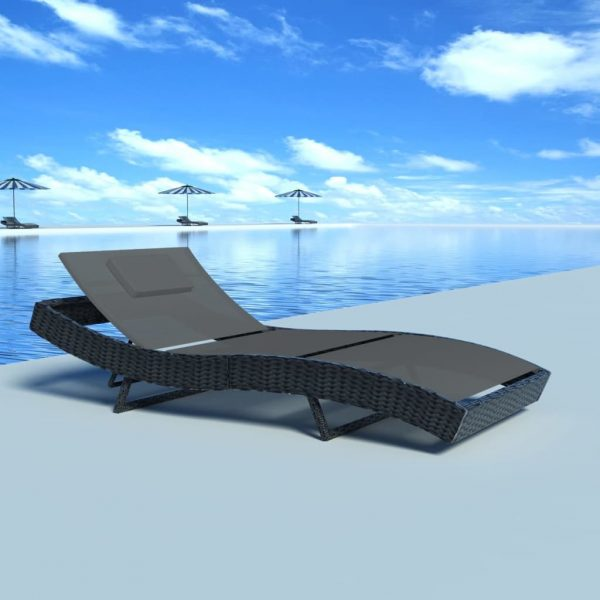 Sun Lounger Poly Rattan Black 1