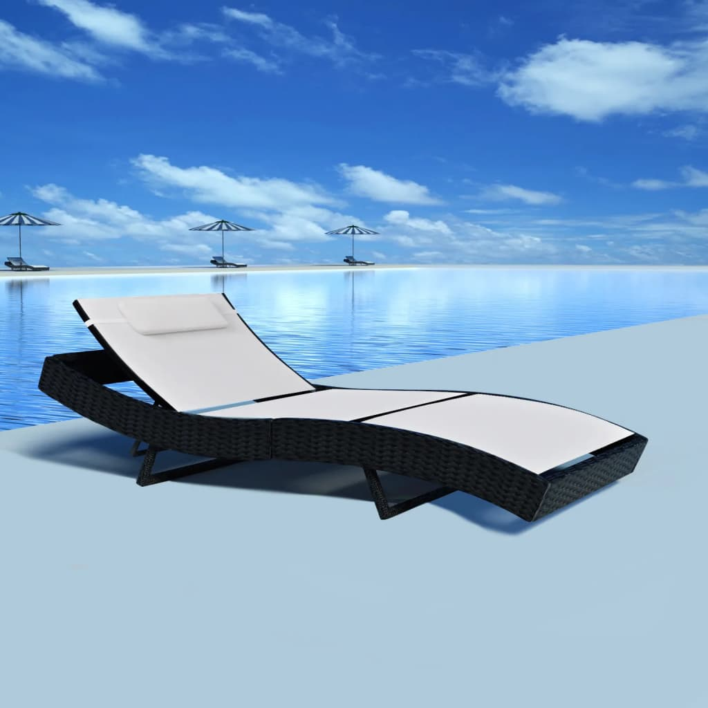 Sun Lounger Poly Rattan Black