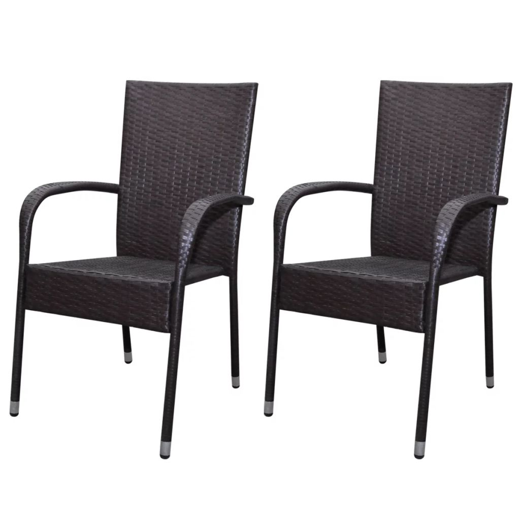 Garden Chairs 2 pcs Poly Rattan Brown