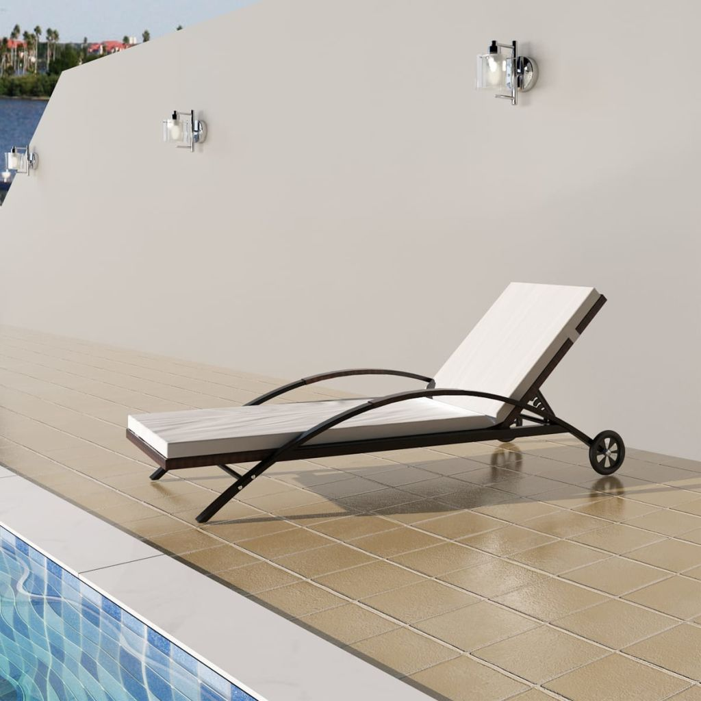Sun Lounger with Cushion & Wheels Poly Rattan Brown