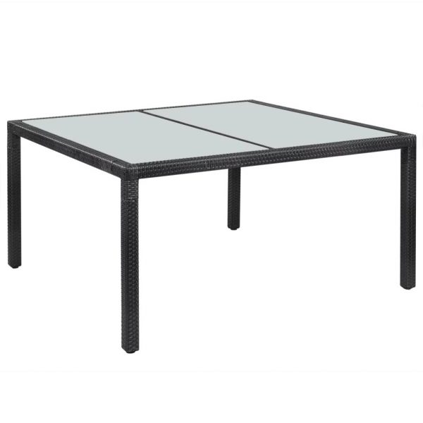 Garden Table Black 150x90x75 cm Poly Rattan 1