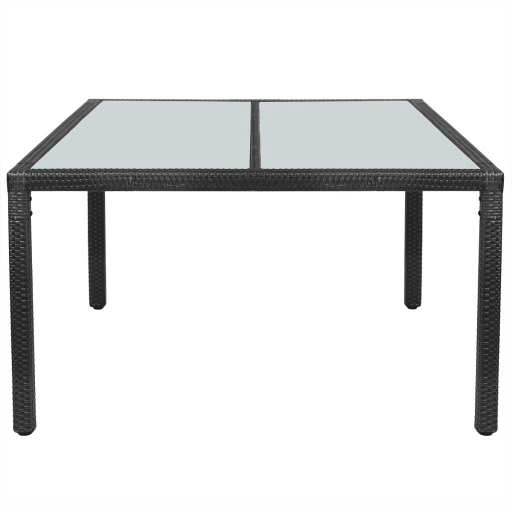Garden Table Black 150x90x75 cm Poly Rattan 2
