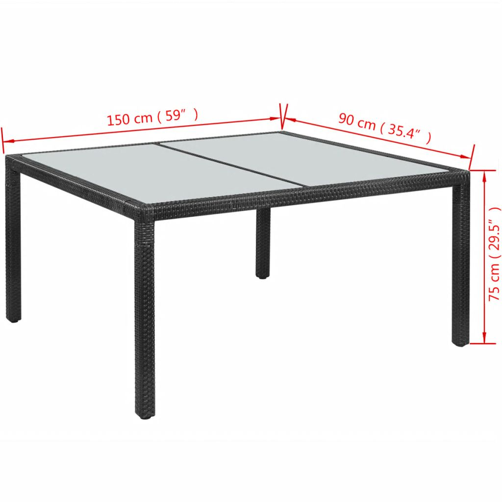 Garden Table Black 150x90x75 cm Poly Rattan 4
