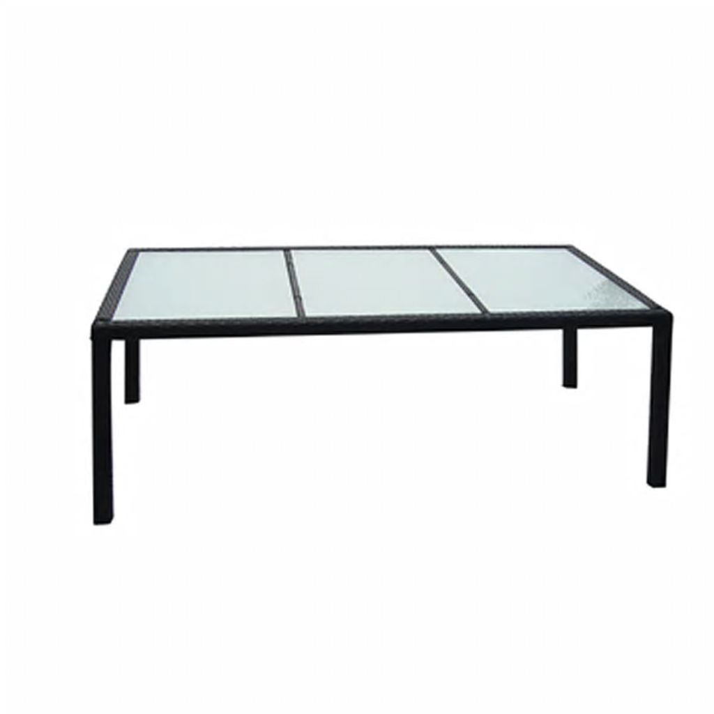 Garden Table Black 190x90x75 cm Poly Rattan