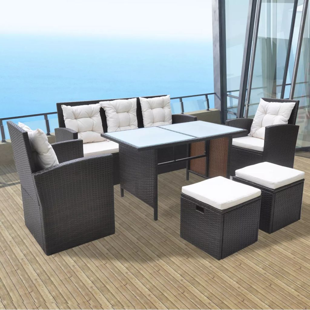 6 Piece Outdoor Dining Set with Cushions Poly Rattan Black
