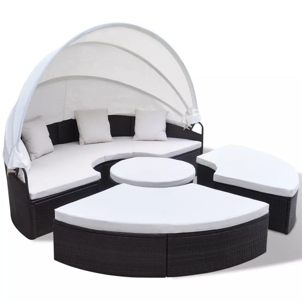 Outdoor Lounge Bed Poly Rattan Brown 2