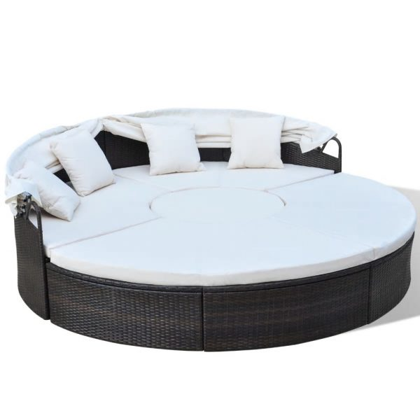 Outdoor Lounge Bed Poly Rattan Brown 3