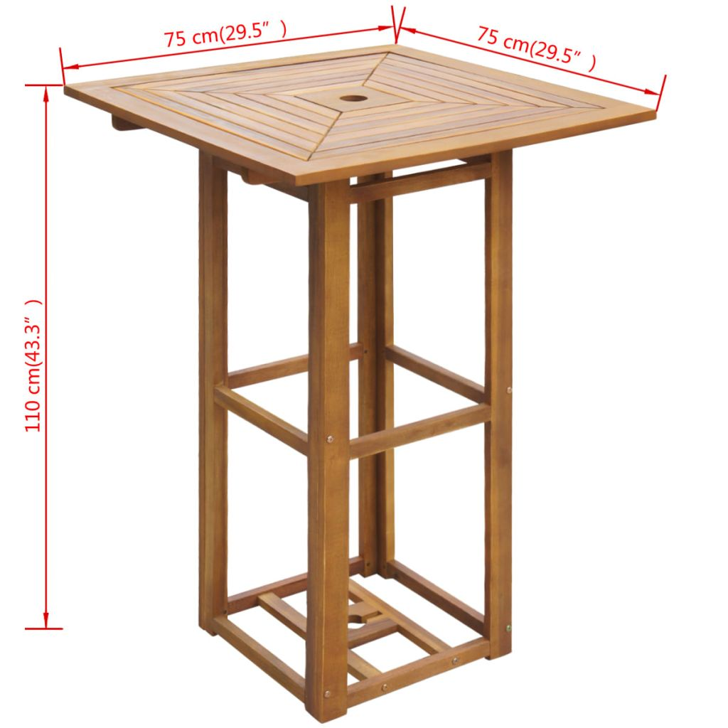 Bistro Table 75x75x110 cm Solid Acacia Wood 4