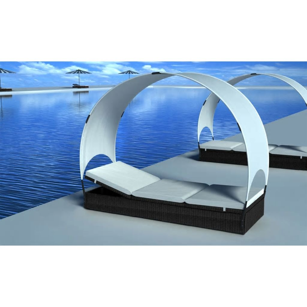 Sun Lounger with Canopy Poly Rattan Black
