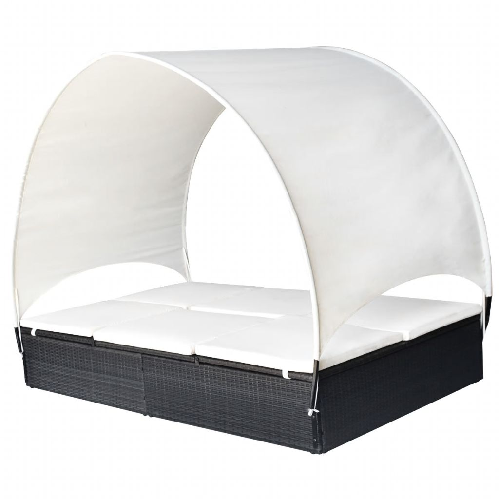 Double Sun Lounger with Canopy Poly Rattan Black 2