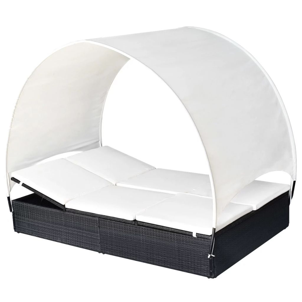 Double Sun Lounger with Canopy Poly Rattan Black 4