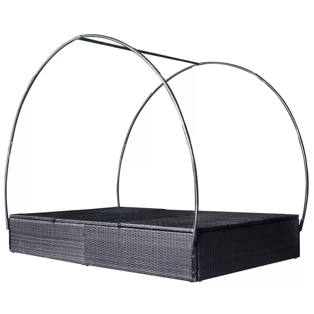 Double Sun Lounger with Canopy Poly Rattan Black 6