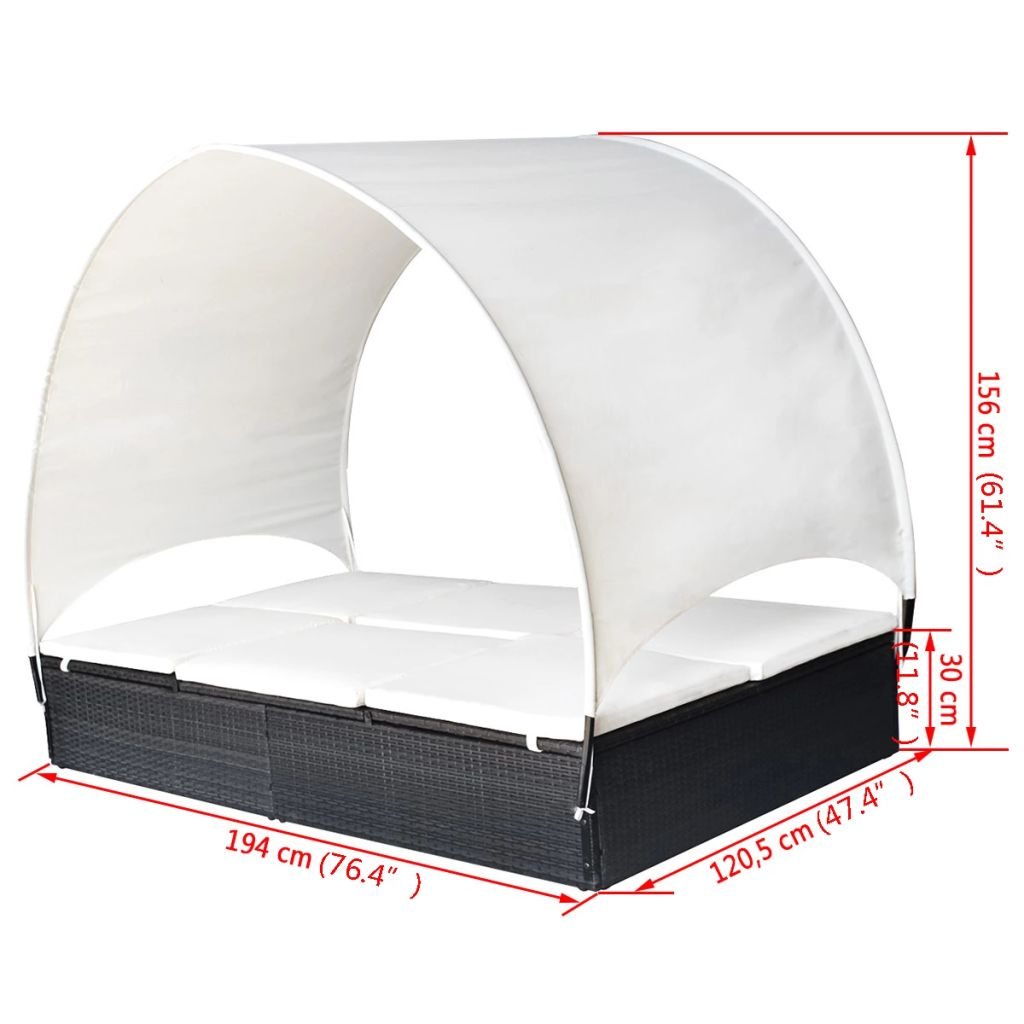 Double Sun Lounger with Canopy Poly Rattan Black 8
