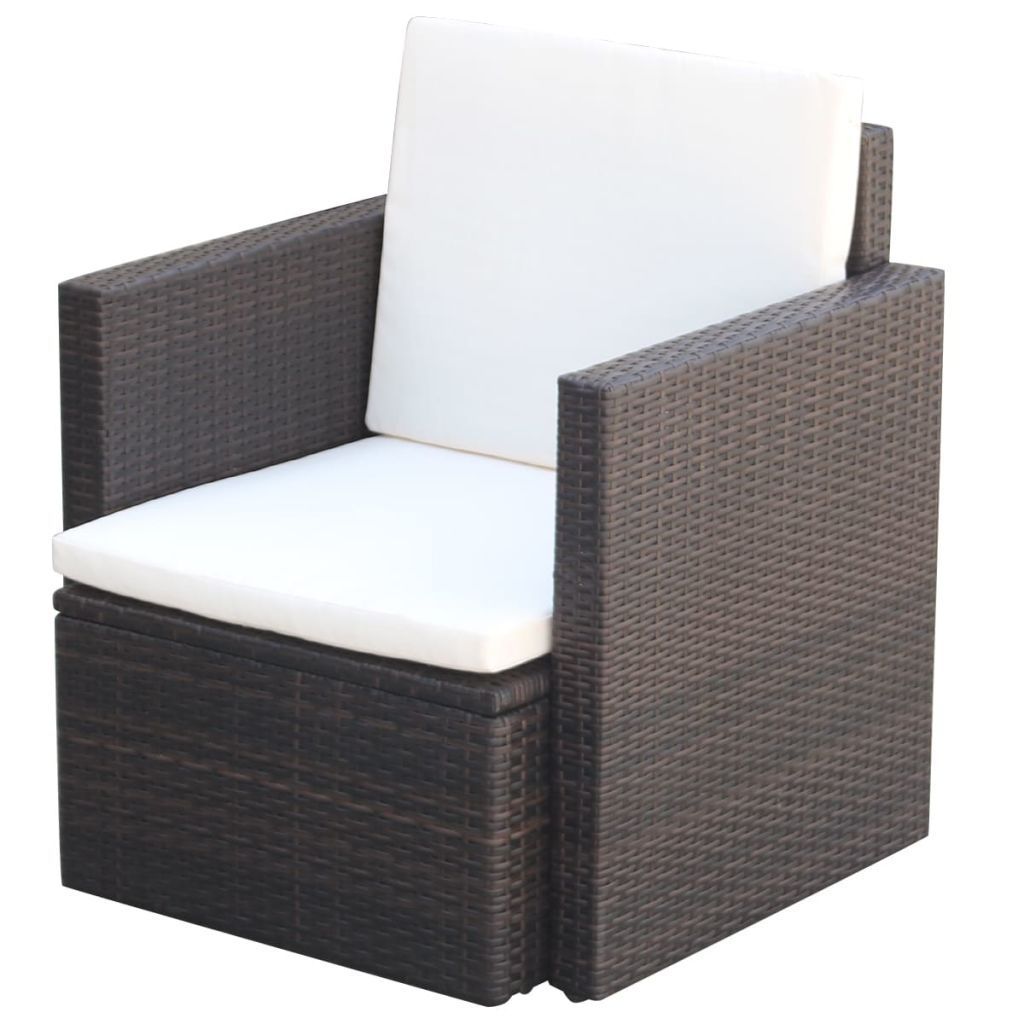Garden Chair with Cushions and Pillows Poly Rattan Brown