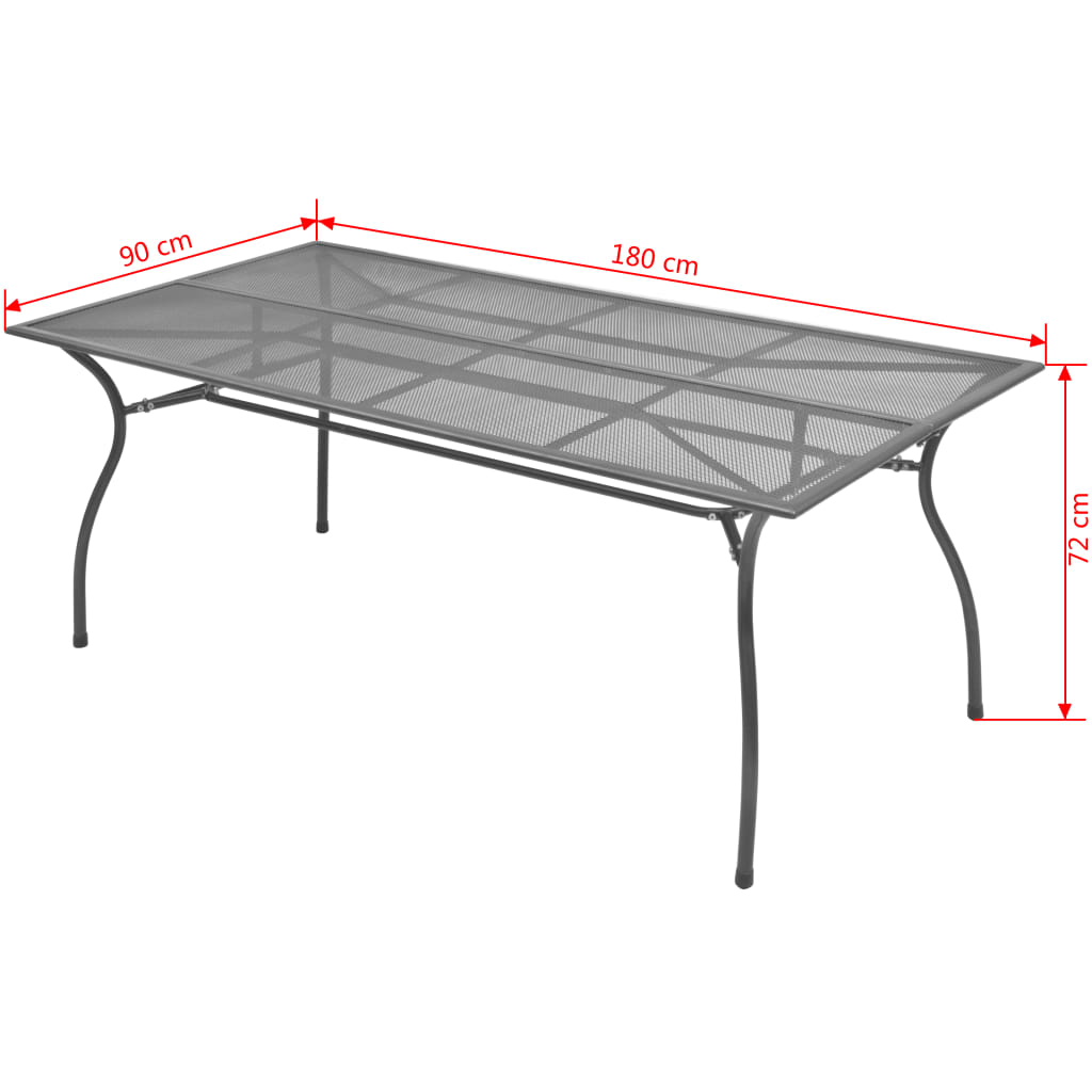 Garden Table 180x90x72 cm Steel Mesh 3