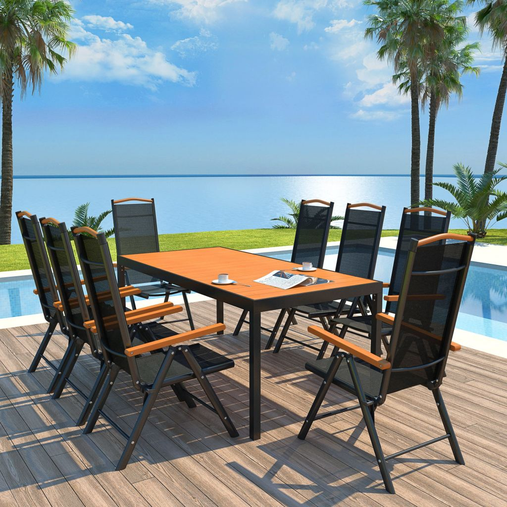 9 Piece Outdoor Dining Set with Folding Chairs Aluminium Black