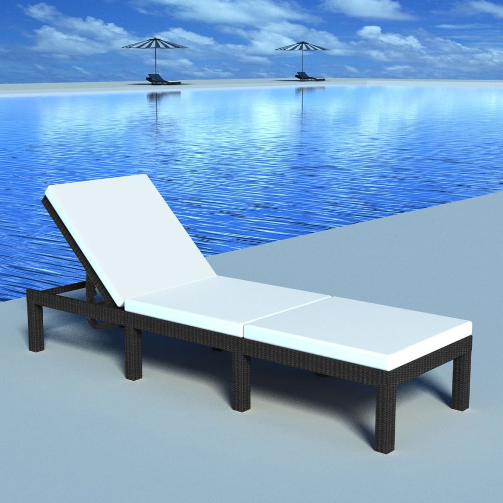 Sun Lounger with Cushion Poly Rattan Black