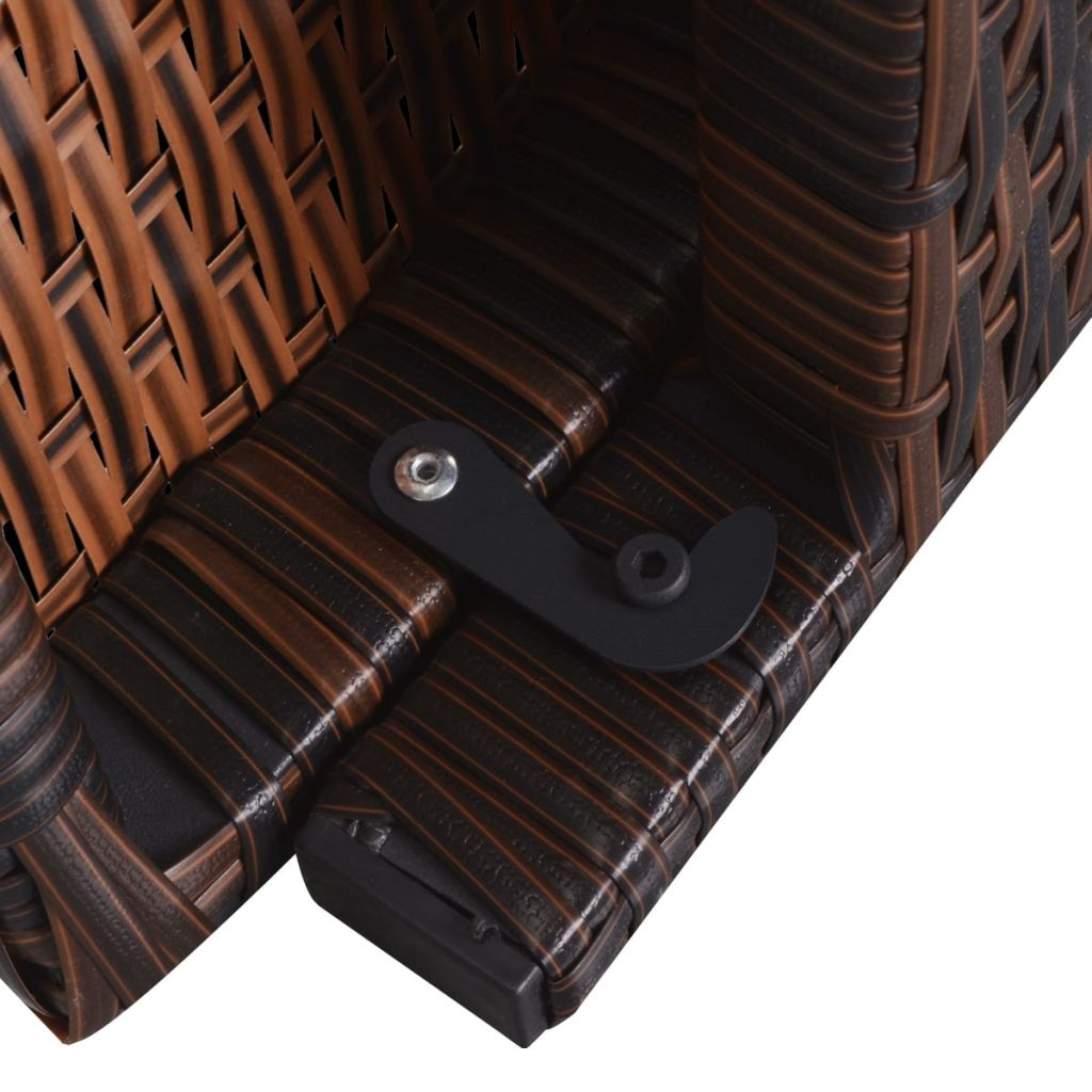 Folding Sun Lounger with Cushion Poly Rattan Brown 8