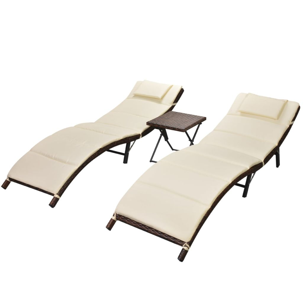Folding Sun Loungers 2 pcs with Table Poly Rattan Brown 2
