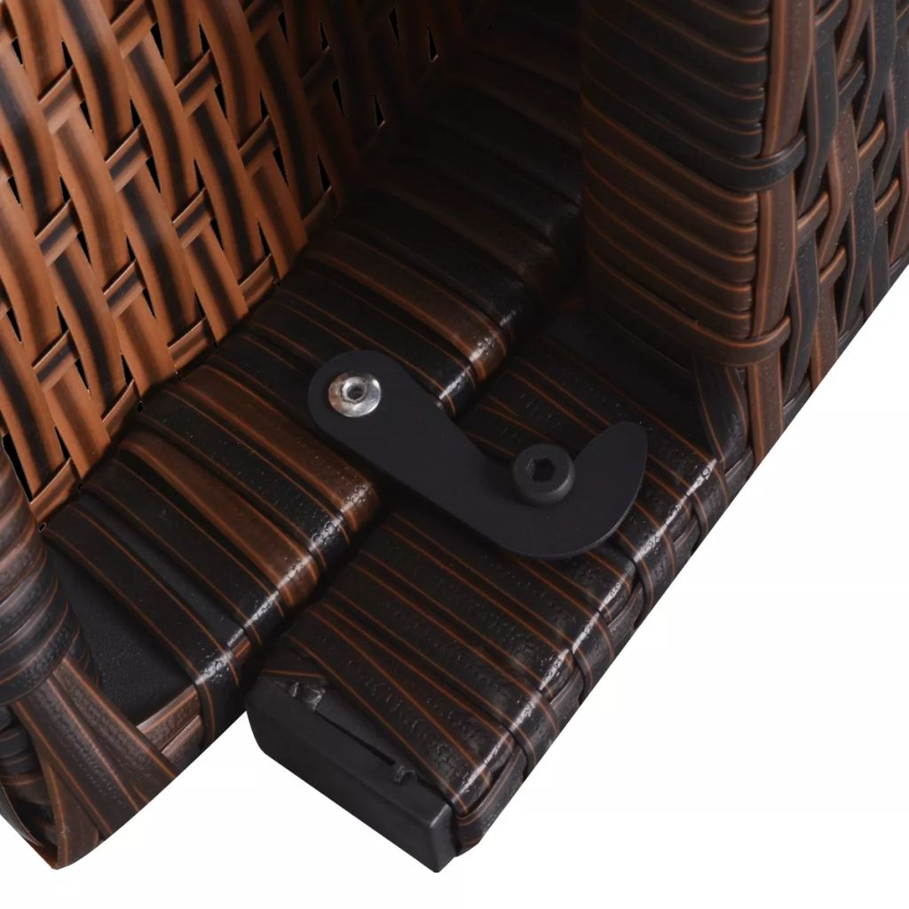 Folding Sun Loungers 2 pcs with Table Poly Rattan Brown 7
