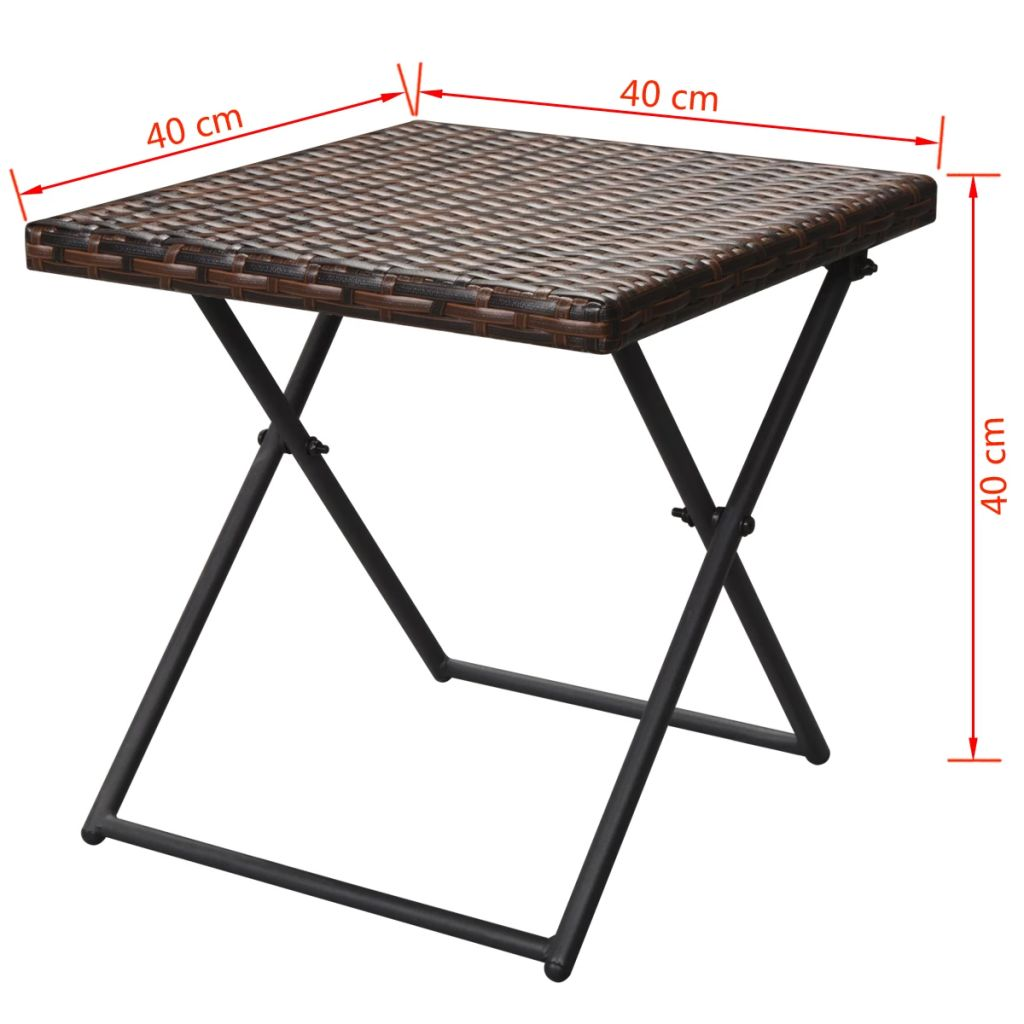 Folding Sun Loungers 2 pcs with Table Poly Rattan Brown 11