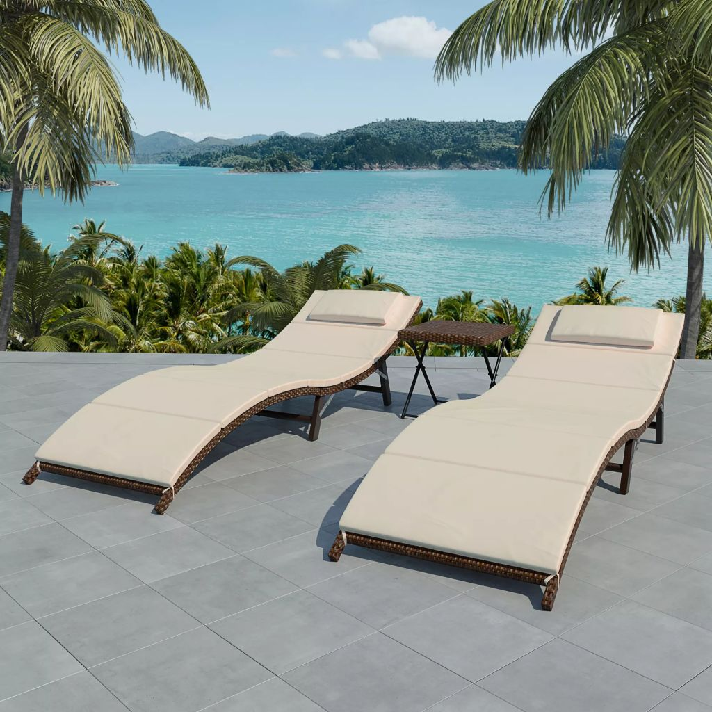 Folding Sun Loungers 2 pcs with Table Poly Rattan Brown 1