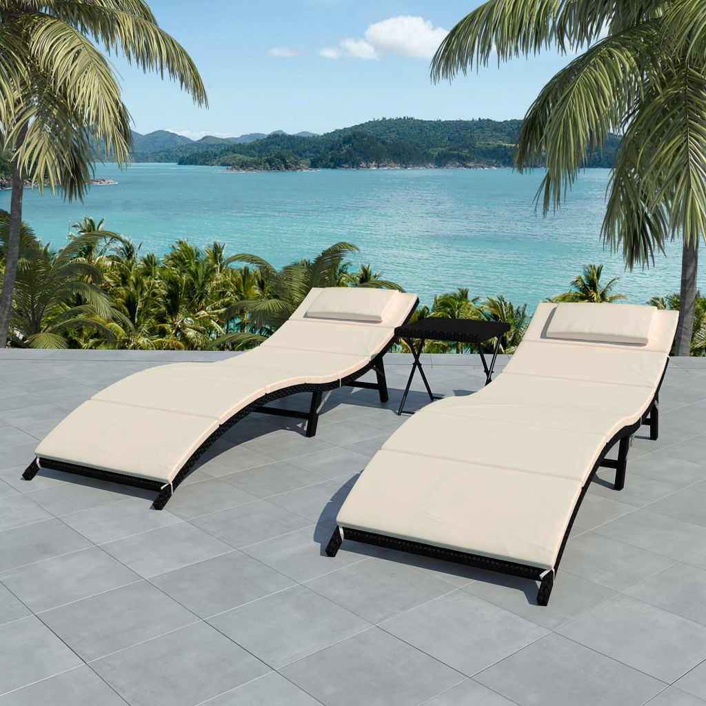 Folding Sun Loungers 2 pcs with Table Poly Rattan Black
