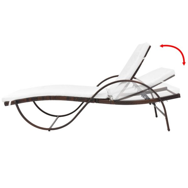 Sun Lounger with Cushion Poly Rattan Brown 2