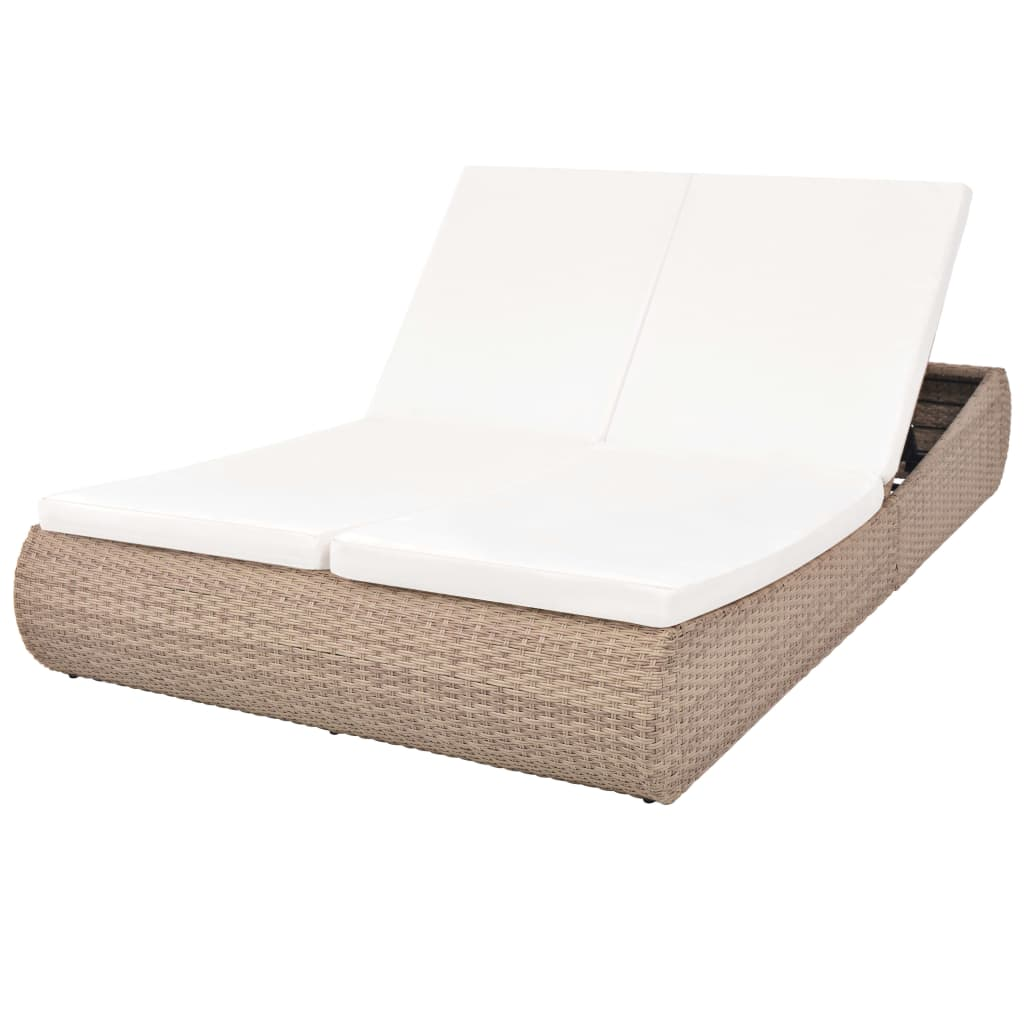 Outdoor Lounge Bed Poly Rattan Beige