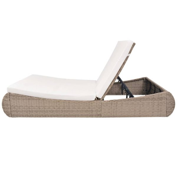Outdoor Lounge Bed Poly Rattan Beige 4