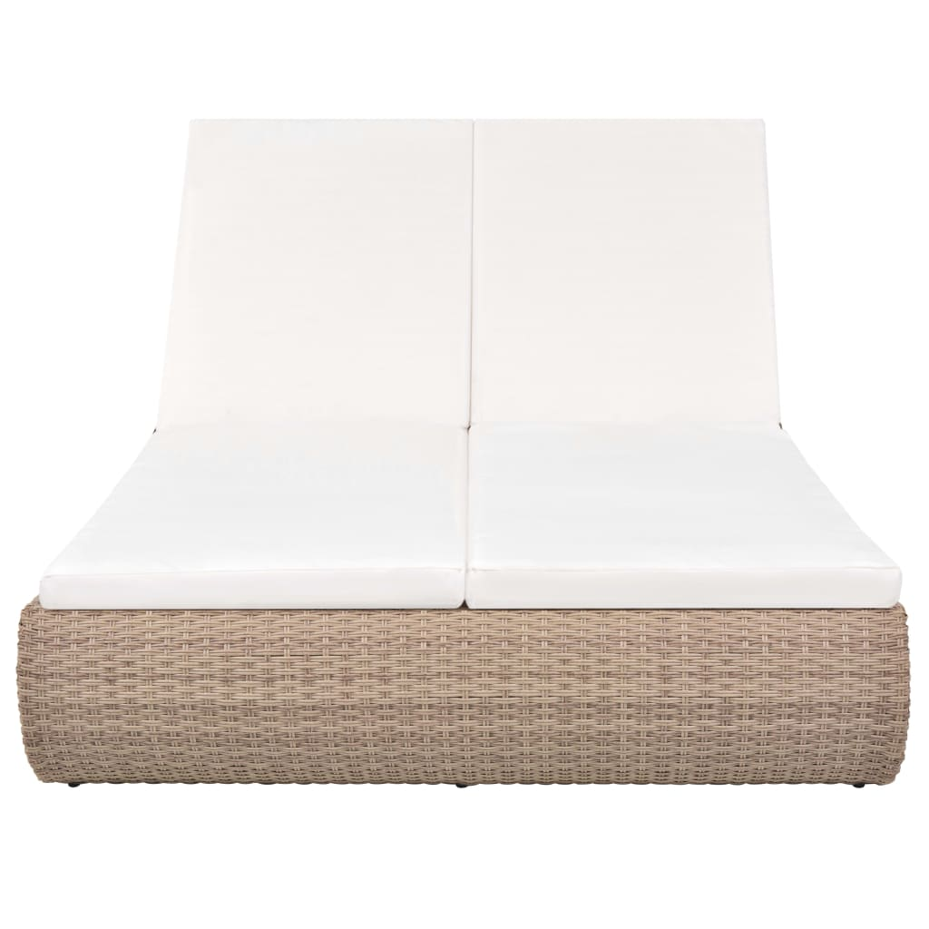 Outdoor Lounge Bed Poly Rattan Beige 5