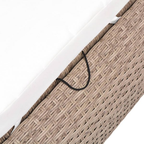 Outdoor Lounge Bed Poly Rattan Beige 7
